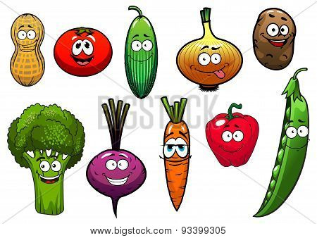 Healthy fresh cartoon vegetables characters
