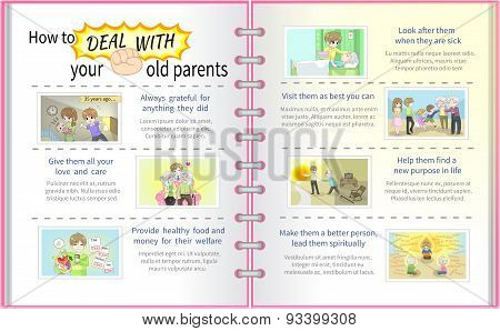 How To Deal With Your Old Parents Father And Mother Cartoon Info Graphic Template Design With Sample