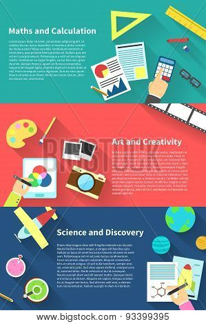 Children Education Infographic Activities And Stationary Template Icon Of Subjects Such As Maths And