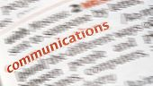 image of glossary  - Close-up of the word Communication in red with Radial blurred effect applied ** Note: Shallow depth of field - JPG