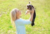stock photo of yorkshire terrier  - Happy young woman owner with yorkshire terrier dog in sunny park - JPG