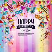 foto of birthday hat  - Vector birthday card with colorful curling ribbons - JPG