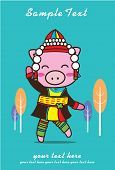 stock photo of baby pig  - Pig cute clothes karen natural - JPG