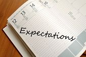 pic of expectations  - Business Notepad on wooden table Expectations concept - JPG