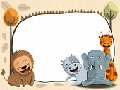 pic of jungle animal  - cute jungle animals illustration and white frame cute lion elephant and giraffe vector - JPG