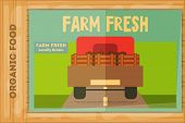 pic of truck farm  - Farm Organic Food Poster on Wooden Background - JPG
