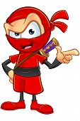 foto of ninja  - An illustration of a sneaky cartoon Ninja character dressed in red - JPG