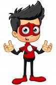 pic of superhero  - A cartoon illustration of a Superhero Boy character dressed in a red superhero costume - JPG
