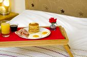 pic of bed breakfast  - A tray with a Pancake Maple Syrup - JPG