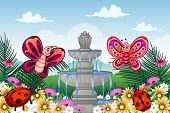picture of ladybug  - A vector illustration of garden with butterflies and ladybugs - JPG