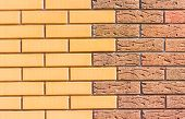 picture of fragmentation  - Fragment of the wall built of two different red brick - JPG