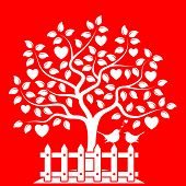 stock photo of bird fence  - vector heart tree and picket fence with couple of birds isolated on red background - JPG