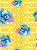 image of aztec  - Aztec tribal mexican seamless pattern with watercolor succulents - JPG