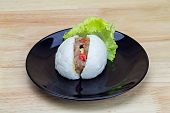 foto of steam  - Chinese steamed bun with crab stick quail egg and pork stuff - JPG