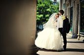 foto of married  - wedding day of  happy just married newlyweds - JPG