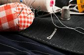 stock photo of tailoring  - view of a tailored suit from a tailor in his studio - JPG