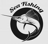 pic of swordfish  - vector emblem of sea fishing and swordfish or Marlin on it - JPG
