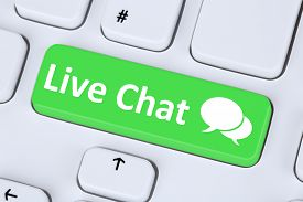 image of chat  - Live Chat contact communication service symbol information on computer keyboard - JPG