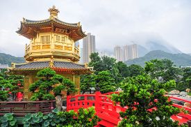 pic of hong kong bridge  - The Golden pavilion and red bridge in the Nan Lian Garden near the Chi Lin Nunnery a famous landmark in Hong Kong - JPG