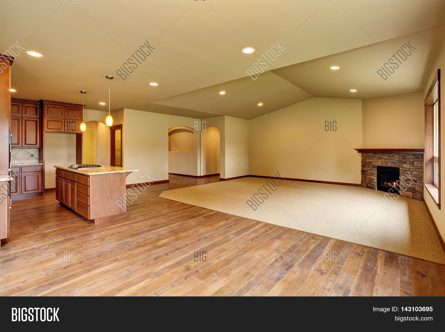 Open Floor Plan Open Floor Plan Empty Living Room With Carpet Floor Stock Photo