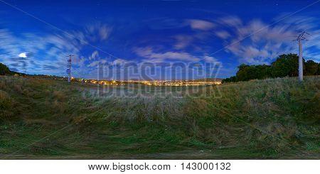 360 panorama of Târgu Mureș at midnight seen from a hillside near Belvedere District.