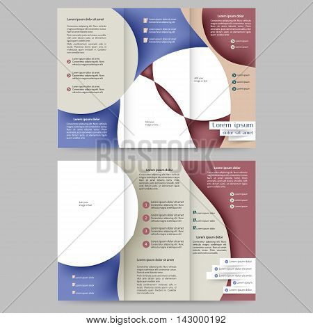 Colored tri fold business brochure design template with abstract lines and waves