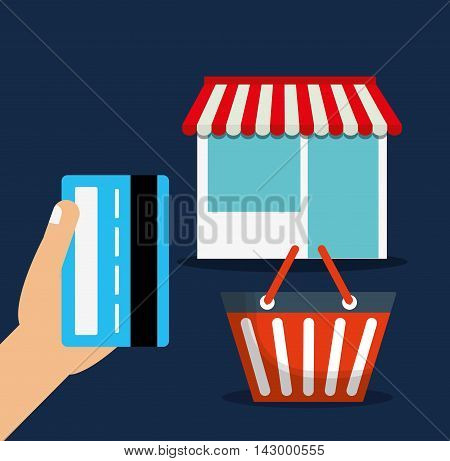 shopping basket credit card store online payment ecommerce icon. Flat illustration. Vector graphic