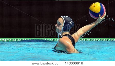 Budapest, Hungary - Jul 16, 2014. France's MILLOT Estelle (FRA, 2) throwing the ball. The Waterpolo European Championship was held in Alfred Hajos Swimming Centre in 2014.