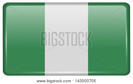 Flags Nigeria In The Form Of A Magnet On Refrigerator With Reflections Light. Vector