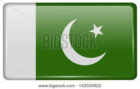 Flags Pakistan In The Form Of A Magnet On Refrigerator With Reflections Light. Vector