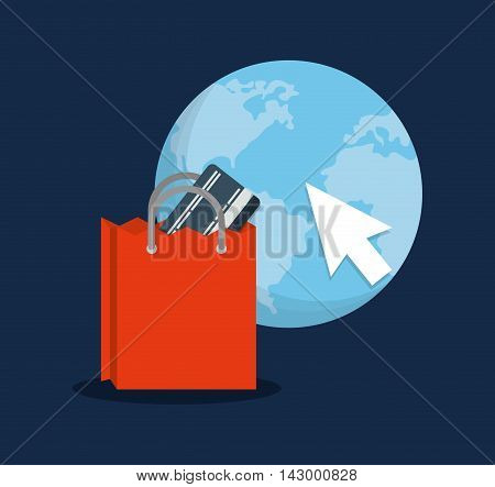 shopping bag planet cursor online payment ecommerce icon. Flat illustration. Vector graphic