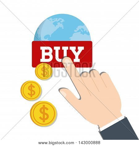 planet coins hand online payment shopping ecommerce icon. Flat illustration. Vector graphic