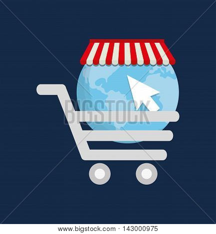 cart planet cursor online payment shopping ecommerce icon. Flat illustration. Vector graphic