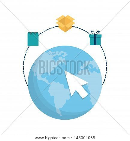 planet cursor bag box gift online payment shopping ecommerce icon. Flat illustration. Vector graphic