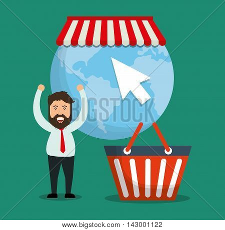 shopping basket man planet cursor online payment ecommerce icon. Flat illustration. Vector graphic