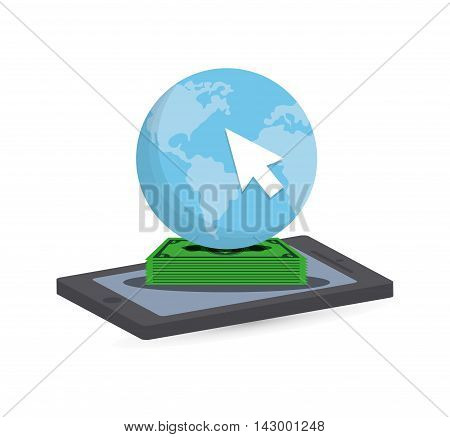 planet cursor bills smartphone online payment shopping ecommerce icon. Flat illustration. Vector graphic