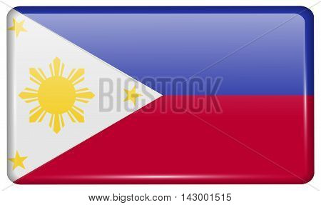 Flags Philippiines In The Form Of A Magnet On Refrigerator With Reflections Light. Vector