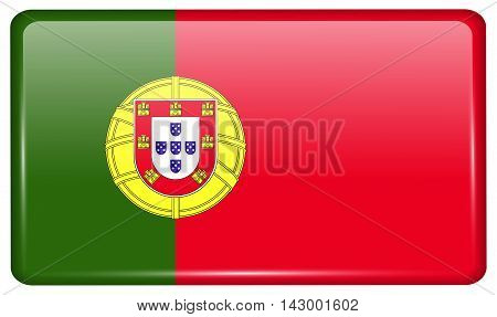 Flags Portugal In The Form Of A Magnet On Refrigerator With Reflections Light. Vector