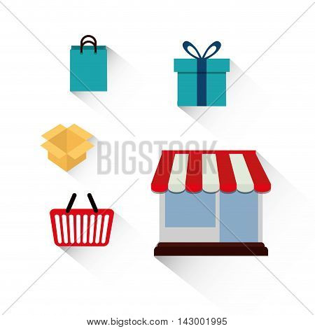 shopping basket store box gift bag online payment ecommerce icon. Flat illustration. Vector graphic