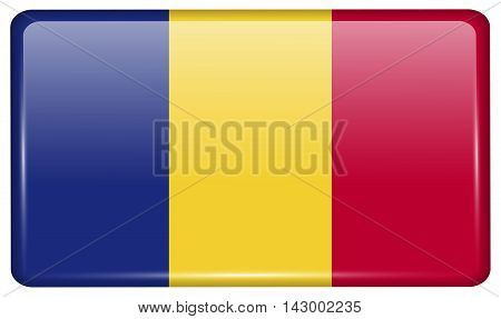 Flags Romania In The Form Of A Magnet On Refrigerator With Reflections Light. Vector
