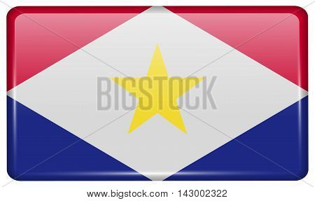 Flags Saba In The Form Of A Magnet On Refrigerator With Reflections Light. Vector