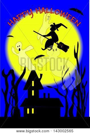 Happy Halloween with home background , ghosts and witch flying over the moon.
