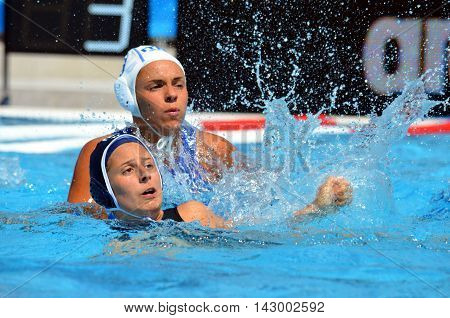 Budapest, Hungary - Jul 16, 2014. 14-4 for Italy against France in the preliminary. The Waterpolo European Championship was held in Alfred Hajos Swimming Centre in 2014.