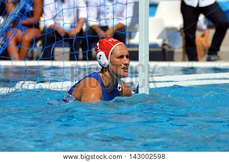 Budapest, Hungary - Jul 16, 2014. GORLERO Giulia (ITA, 1) is the goalkeeper of Italy. The Waterpolo European Championship was held in Alfred Hajos Swimming Centre in 2014.