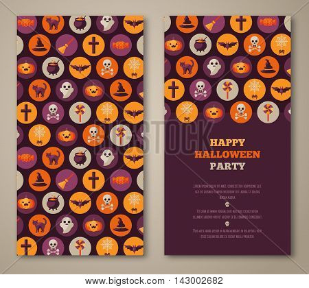Halloween two sides poster, flyer or menu design. Vector illustration. Scary party invitation with holiday flat icons in circles. Place for your text message.