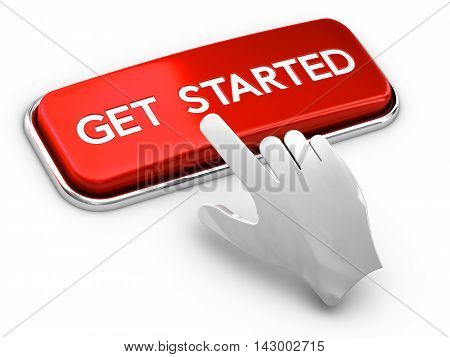 3D illustration of a call to action button where it is written get started and a hand over white background