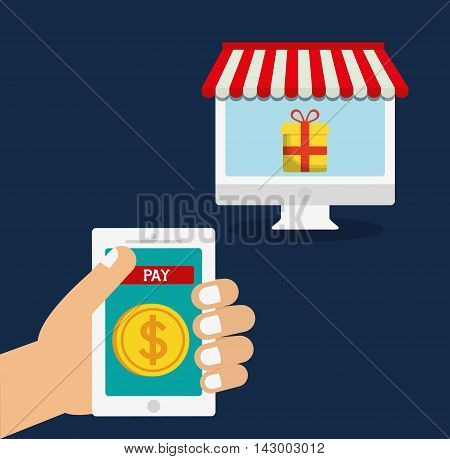 tablet coin computer gift online payment shopping ecommerce icon. Flat illustration. Vector graphic
