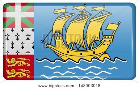 Flags Saint Pierre Miquelon In The Form Of A Magnet On Refrigerator With Reflections Light. Vector