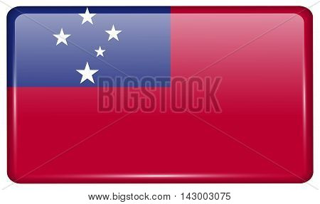 Flags Samoa In The Form Of A Magnet On Refrigerator With Reflections Light. Vector