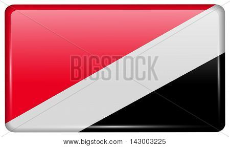 Flags Sealand Principality In The Form Of A Magnet On Refrigerator With Reflections Light. Vector